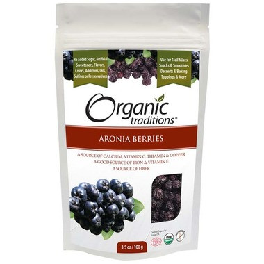 Organic Traditions Aronia Berries, 100 g | NutriFarm.ca