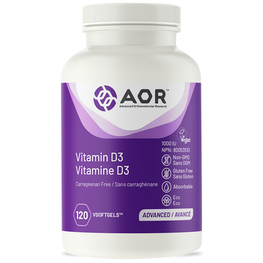 AOR Vitamin D3, 120 Vegetable Softgels | NutriFarm.ca