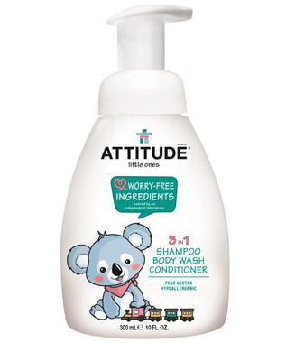 Attitude Little Ones 3-in-1 Foaming Wash Pear Nectar, 300 ml | NutriFarm.ca