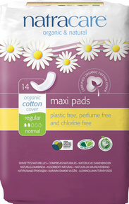 Natracare Natural Maxi Pad Regular, 14 pads | NutriFarm.ca