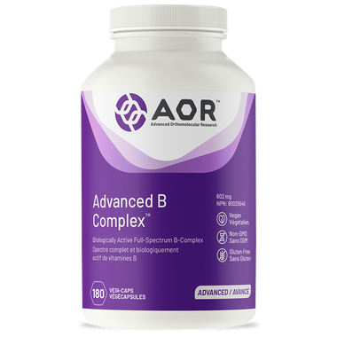 AOR Advanced B Complex 602 mg, 180 Vegetable Capsules | NutriFarm.ca