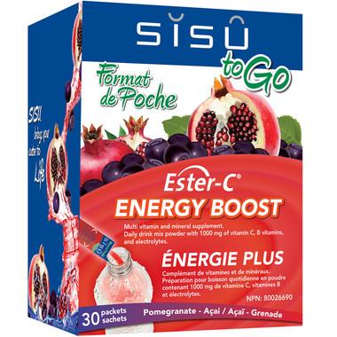 SISU Ester-C Energy Boost Pomegrante Açai Flavour, 30 Packets | NutriFarm.ca