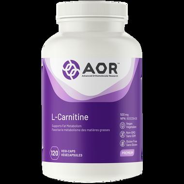 AOR L-Carnitine 500 mg, 120 Vegetable Capsules | NutriFarm.ca
