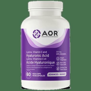AOR Lysine, Vitamin C & Hyaluronic Acid, 60 Vegetable Capsules | NutriFarm.ca