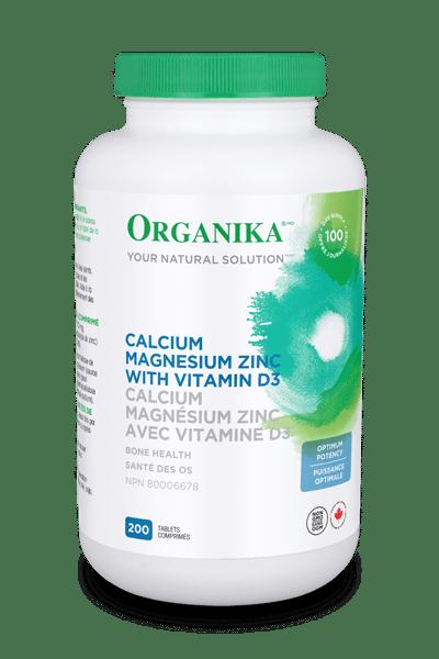 Organika Calcium Magnesium Zinc Vitamin D3 Optimum Potency 200 Tablets