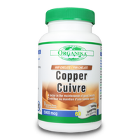 Organika Copper HVP Chelated 5000 mg, 60 Tablets | NutriFarm.ca
