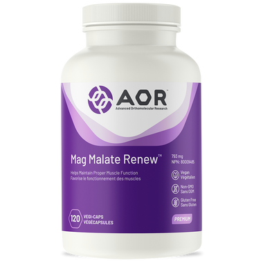 AOR Magnesium Malate Renew, 120 Vegetable Capsules | NutriFarm.ca