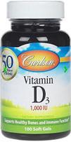 Carlson Laboratories Vitamin D3 1000 IU, 100 Softgels | NutriFarm.ca