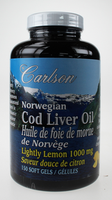 Carlson Laboratories Cod Liver Oil Lemon, 150 Softgels | NutriFarm.ca