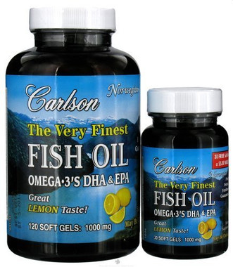 Carlson Laboratories Very Finest Fish Oil Lemon, 120 + 30 Capsules | NutriFarm.ca