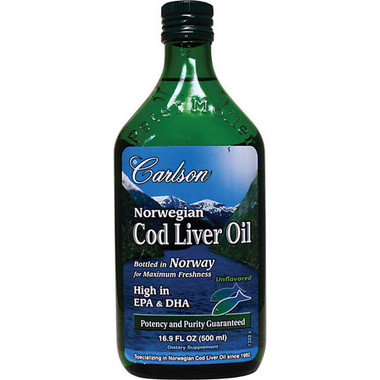 Carlson Laboratories Norwegian Cod Liver Oil, 500 ml | NutriFarm.ca