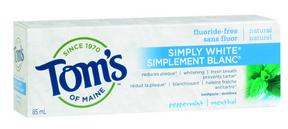 Tom's of Maine Simply White Toothpaste Peppermint, 85 ml | NutriFarm.ca