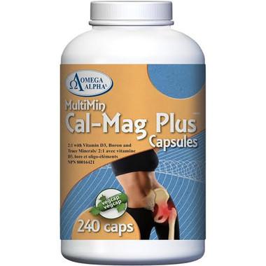 Omega Alpha Cal Mag Plus, 240 Vegetable Capsules | NutriFarm.ca