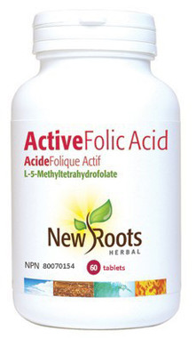 New Roots Active Folic Acid (L-5-Methyltetrahydrofolate), 60 Tablets | NutriFarm.ca
