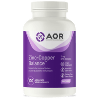 AOR Zinc And Copper Balance, 100 Vegetable Capsules | NutriFarm.ca