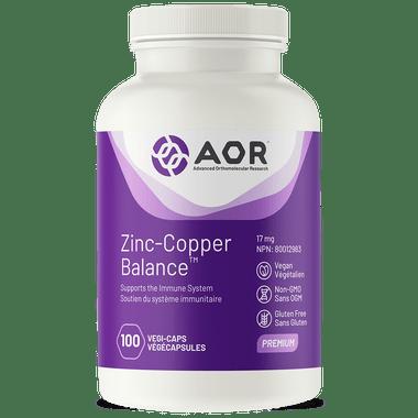 AOR Zinc And Copper Balance, 100 Vegetable Capsules | NutriFarm.ca