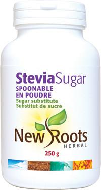 New Roots Stevia Sugar Spoonable, 250 g | NutriFarm.ca