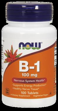 NOW B-1 100 mg, 100 Tablets | NutriFarm.ca