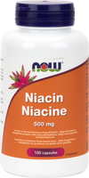 NOW Niacin 500 mg, 100 Capsules | NutriFarm.ca