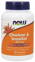 NOW Choline and Inositol 500 mg, 100 Capsules | NutriFarm.ca