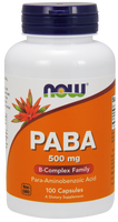 NOW PABA 500 mg with Vitamin C, 100 Vegetable Capsules | NutriFarm.ca