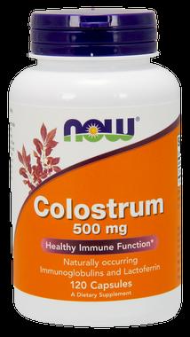 NOW Colostrum 500 mg, 120 Vegetable Capsules | NutriFarm.ca