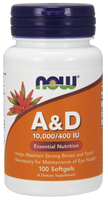 NOW Vitamin A & D 10,000 IU/400 IU, 100 Softgels | NutriFarm.ca