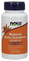 NOW Natural Beta Carotene 25,000 IU , 90 Softgels | NutriFarm.ca