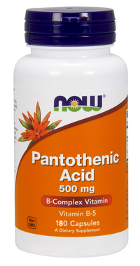 NOW Pantothenic Acid 500 mg, 180 Capsules   NutriFarm.ca