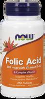 NOW Folic Acid 800 mcg with Vitamin B-12 25 mcg, 250 Tablets | NutriFarm.ca