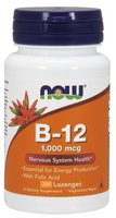 NOW B-12 1000 mcg with Folic Acid 100 mcg, 250 Lozenges | NutriFarm.ca