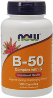 NOW B-50 Complex with Vitamin C 100 Capsules | NutriFarm.ca