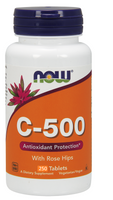 NOW C-500 with 40 mg Rose Hips, 250 Tablets | NutriFarm.ca