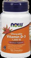 NOW Vitamin D-3 1,000 IU Chewable, 180 Chewables | NutriFarm.ca