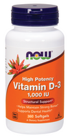 NOW Vitamin D-3, 1000 IU, 360 Softgels | NutriFarm.ca