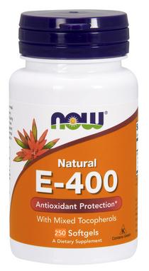 NOW E-400 IU Mixed Tocopherols, 250 Softgels   NutriFarm.ca