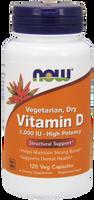 NOW Vitamin D 1,000 IU Dry Vegan, 120 Vegetable Capsules | NutriFarm.ca