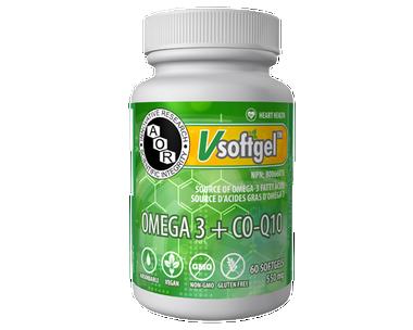 AOR Omega 3 and CoQ10, 60 Softgels | NutriFarm.ca