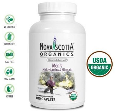 Nova Scotia Organics Men's Multivitamins & Minerals, 180 Caplets | NutriFarm.ca