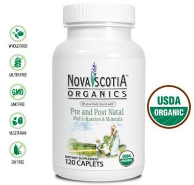 Nova Scotia Organics Pre and Post Natal Multivitamins & Minerals, 120 Caplets | NutriFarm.ca