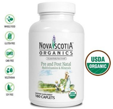 Nova Scotia Organics Pre and Post Natal Multivitamins & Minerals, 180 Caplets   NutriFarm.ca