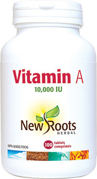 New Roots Vitamin A, 100 Tablets | NutriFarm.ca