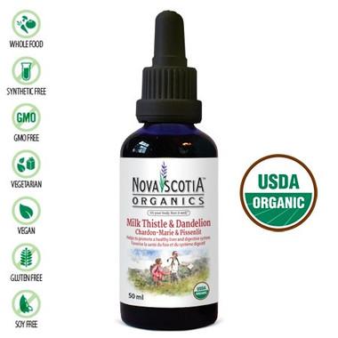 Nova Scotia Organics Milk Thistle Dandelion Tincture, 50 ml | NutriFarm.ca