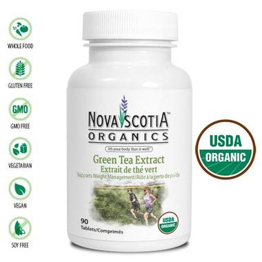 Nova Scotia Organics Green Tea Extract, 90 Tablets | NutriFarm.ca