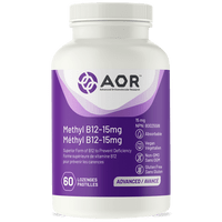 AOR Methyl B12 15 mg (Formerly Methylcobalamin Ultra), 60 Lozenges | NutriFarm.ca