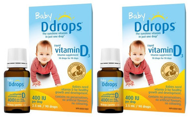 Baby Ddrops 400 IU, 90 drops/2.5 mL * 2 | NutriFarm.ca