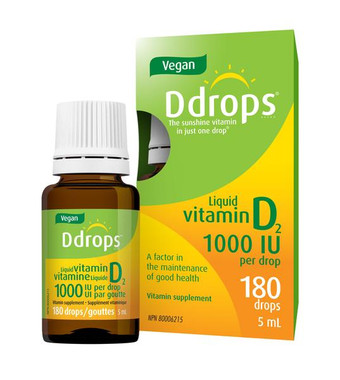Ddrops Vegan 1000 IU, 180 drops (5 ml) | NutriFarm.ca