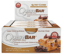 Quest Bar Chocolate Chip Cookie Dough, Box of 12 Bars (60 g/bar) | NutriFarm.ca