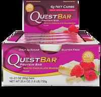 Quest Bar White Chocolate Raspberry, Box of 12 (60 g/bar) | NutriFarm.ca