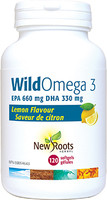 New Roots WildOmega 3 EPA 660 mg DHA 330 mg Lemon Flavour, 120 Softgels | NutriFarm.ca